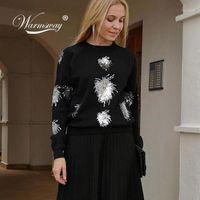 Nouvel An Femmes Christmas Sweater Knitwear Shiny Perlé Classic Classic High-Ents Viscose Blend Pull Femmes Rock Girl C-4971