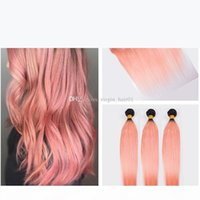 Ombre Rose Gold 13*4 Full Lace Band Frontal Closure With Brazilian Virgin #1B Rose Pink Human Silk Straight Hair Bundles Double Down Wefts