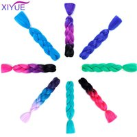 Human Ponytails Jumbo Braid Hair Ombre Crochet Braiding Synthetic Extensions Blond Red Pink For Colorful Pony Tail Women