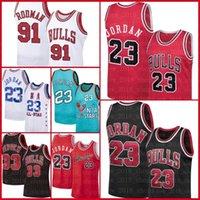 ChicagoBoğa33 Scottie Pippen 91 Dennis Rodman 33 MJ Retro Mesh 1996 Erkek Basketbol Formaları S-XXL Erkekler Asdefsas