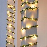 Strings 10m 5m Green Leaves Light String Solar Powered Ivy Leaf Vine LED Lamp For Wedding Christmas Garden Patio Decor