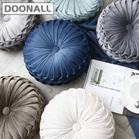 Doonall Velvet Pleated Round Pumpkin Throw Pillow Couch Cushion Floor Decorative For Home Sofa Chair Bed Car Cushion Decorative