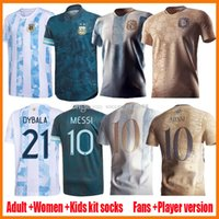 2021 Argentina Home Away Jerseys de futebol 20 21 22 22 200 Messi Dybala Kits Kits Camisas de futebol Aguero Icardi Mascherano Mulheres Menina 2021-22 2022 Camiseta de Futbol Set