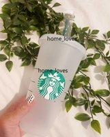 24oz / 710ml Copos de plástico transparentes xícaras de suco que não mudam de cor reutilizável copo de bebidas starbucks xícaras com tampas e canudos coffe