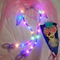 Christmas Sequin luminous Ear Moving Hat pinch will move the rabbit ear luminous hair hoop Hair AccessoriesT2I52796