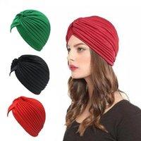 Massivfarbe geknotete Turban für Frauen Mode Hairwear Head Wrap Schal Damenkrebs Hut Mützen Islamische innere Hijab-Kappe Bandanas Beanie / Skul