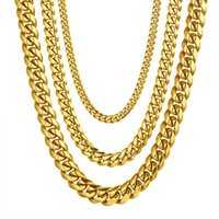 Necklace Men Stainless Steel Hip Hop Cuban Link Chain Necklaces For Women Steampunk Gold Color Gifts Male Chains