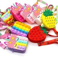 EE. UU. Stock Favor de fiesta Fianza linda Fidget Toys Bolsa Unicornio Simple Dimple Messenger Mensajero Puser Burbuja Anti-Stress Children's Llavero Llavero