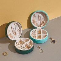 Boîte de rangement de bijoux de voyage Portable Zipper PU Anneaux de cuir Boucles d'oreilles Collier Organisateur Display Case Accessoires Support OWB8968