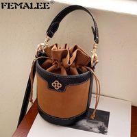 Shoulder Bags Vintage Drawstring Bucket Bag Matte Leather Crossbody Purses Fashion Sling For Women Ruched Handbags Girls