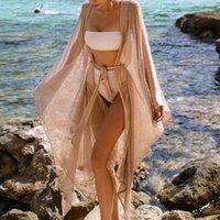 Seksi Kadınlar Altın Parlak Bikini Kapak Up Elbise Açık Ön Kravat Bel Güneş Geçirmez Uzun Beachwear Tatil Bayan Sequins Örgü Robe Kadın Mayo