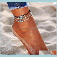 Vintage Capas múltiples tobillera bohemia retro tortuga cuerda tobillera pulsera mujeres descalza sandalias playa animal pie joyería hzb4n 7zhui