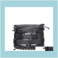 Charm Jewelryeuropean And American Bracelets Retro Punk Combined Multi-Layer Leaf Feathers Pu Leather Handmade Bracelet Drop Delivery 2021 H