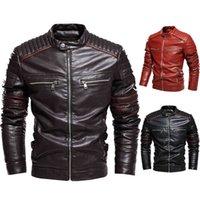 Модные мужские куртки джентльмены стойки воротник пальто мужская кожаная куртка тонкий подходящий мотоцикл верхняя одежда осень флисовые пальто