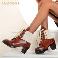 Sarairis büyük boy 48 en kaliteli stokta yüksek topuklu retro vintage lace up kış ayakkabı kadın ayak bileği batı çizmeler bayan1