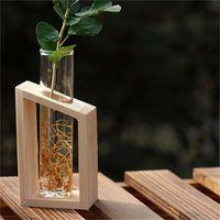 كريستال زجاج اختبار أنبوب إناء في حامل خشبي زهرة الأواني ل النباتات المائية المنزل حديقة الديكور 507 R2