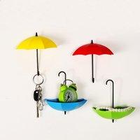 Ganchos rieles stouge 3 unids paraguas forma gancho creativo llave colgador rack niños habitación decorativo titular pared colorido almacenamiento organizadores