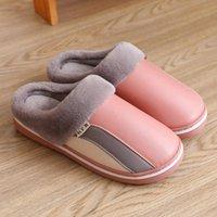 Slippers Women Fashion Shoes Stripe Corduroy Indoor Autumn And Winter Warm Slides Plush Cotton Household Fur