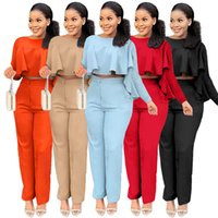Autumn Women clothes 2 Two Piece Pants suit Irregular ruffle long-sleeve blouse with zipper pockets straight trousers set fashion streetwear lady office suits