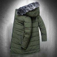 Men's Down & Parkas Winter Coat Men Long Puffer Jacket Cotton Padded Mens Fur Collar Outdoor Warm With Hood Windbreaker