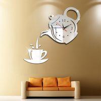 Wall Clocks Acrylic Mirror Clock DIY Creative Teapot Stickers Decoration