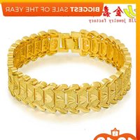 Fashion Euro trifolio 24 K gold plated men's wide version car flower spark Bracelet Watch Chain