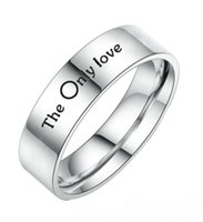 6 4mm Silver Couple The Only Love Rings Stainless Steel Band Size 6-12