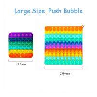 Venta al por mayor Talla grande 20cm Big Rainbow Push Bubble Bubble Fidget Toys Oversize Sensory Steter Reliever Toy Kids regalos