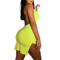 Sexy Summer Dresses For Women 2021 Club High Split Open Back Halter Mini Bodycon Dress Womens Clothing Casual