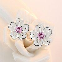 Fashion women's brand white fungus ornaments romantic cherry small clean ear nails handmade pink purple luxury zircon jewelry 2296 Q2