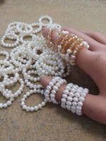 10шт натуральные пресноводные белые жемчужные кольца регулируемые эластичные растягивающиеся жемчужные кольца для женщин ювелирные изделия