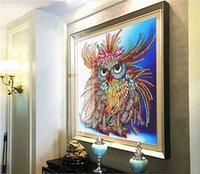 5D Full Square Diamond Painting 30 * 30 cm ricamo punto croce animali gufo colorato gufo 3d fai da te trapano disegno mosaico ood6237