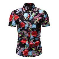 Erkek Yaz Baskı Gömlek Streetwear Tops Adam Rahat Giysiler Chemise Homme Erkek Afrika sahil Tatil Plaj Erkek Gömlek