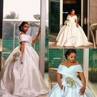 Elegant Plus Size White Ball Gown Wedding Dresses Off Shoulder Ruched Sweep Train Satin Bridal Party Gowns vestido de novia bottega