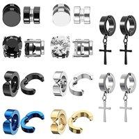 2pcs Punk Mens Strong Magnet Magnetic Ear Stud Set Non Piercing Earrings Fake Cross Earrings Gift for Boyfriend Lover Jewelry