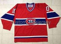 Barato O vintage feito sob encomenda Montreal Canadiens Guy Lafleur # 10 Hóquei C CCM Jersey Hóquei Hóquei Jersey Qualquer Nome Número
