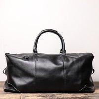 Duffel Bags Men Genuine Leather Travel Bag Tote Big Weekend Man Cowskin Duffle Hand Luggage Male Handbags Large Capacity