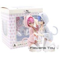 Anime Re: zéro REM RAM NYANKO MODE ICHIBAN KUJI PVC Figure Modèle de collection Toy Q0621