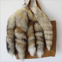 جديد 100٪ الثعلب الطبيعي الذيل أفخم حقيقية الثعلب الذيل المفاتيح الفراء شرابة حقيبة العلامة سحر كيرينغ الفراء الحقيقي المعتاد حقيبة يد قلادة 210409