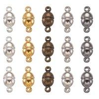 100sets Níquel Livre Bronze Magnética Clasps Oval Jóias Resultados Platinum Golden Antique Bronze Gunmetal 11x5mm, Buraco: 1mm