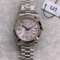 Top U1 Factorty Diamond Rock Dial Silver Date Day Crown Watch 41mm الياقوت الأصلي مشبك Blu-ray مكبر رجالي
