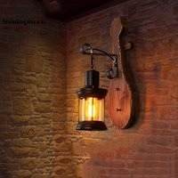 Wall Lamp Vintage Wood Glass LED Lamps Art Industrial Sconce Bedside Loft Home Decor Light Bathroom Fixtures