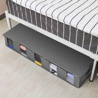 صندوق تخزين تحت السرير الملابس القابلة للطي المنظم مقاوم للرطوبة منظم القطن الكتان واقية الغبار لحاف أكياس مع غطاء التشطيب DHD6541