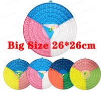 26CM Large Size Party Favor Circle Fidgets Finger Toys Round Push Bubbles Sensory Puzzle Chessboard with 2 Dice Board Rainbow Silicone Decompression Toy