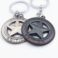 Keychains Car KeyChain Metal Texas STAR LONE SILVER EOITION Black Silvery Emblem Badge KeyRing Auto Accessories