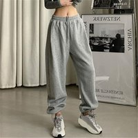 Women's Pants & Capris Gray Sweatpants Women Baggy Harem Wide Leg Sweat Oversized Harajuku Joggers Woman High Waisted Black Trousers