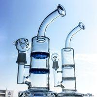 10 дюймов прозрачные голубые кальяны соты Perc Стеклянные бонги турбинный диск перколятор нефтяные монтажные установки 18 мм сустава водопроводные трубы с миской