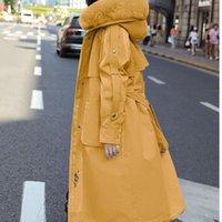 Зима 2021 женское меховое пальто Maxi длинные ветровка куртка женщин Parka Ukraine Harajuku Основные куртки Верхняя одежда снег носить капюшон женщин вниз