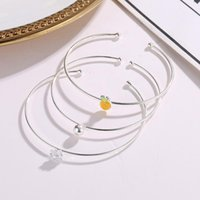 Pcs Set Clear Crystal Smooth Ball Lovely Yellow Pineapple Thin Chain Cute Silver Bangles For Women Bangle
