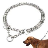 Chaîne d'entraînement de chien Collier de cheptel à double rangée Chaîne en métal en métal en acier inoxydable Collier P Pen pour grands chiens Pitbull x0703